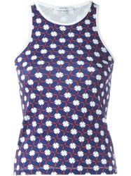 Carven Shamrock Print Tank Top Blue