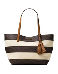 Michael Michael Kors Striped Coated Canvas Large East West Tote Brown