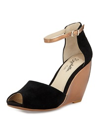 Seychelles Sunlight Suede Wedge Sandal Black
