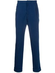 Officine Generale Drew Micro Check Trousers Blue