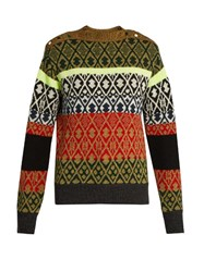 Toga Long Sleeved Wool Blend Jacquard Sweater Green Multi