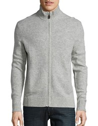 Black Brown Wool Blend Zip Up Sweater Light Silver