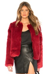 Lovers Friends Nyc Faux Fur Jacket Red