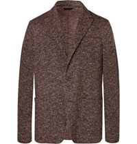 Altea Brown Unstructured Herringbone Wool Blend Blazer