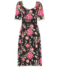 Dolce And Gabbana Floral Printed Crepe Dress Multicoloured