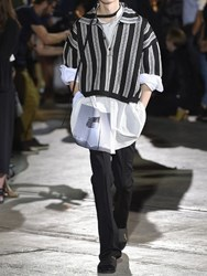 Raf Simons Striped Oversized Cropped Polo Shirt