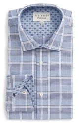 Ted Baker Big And Tall London Swanney Endurance Trim Fit Plaid Dress Shirt Blue