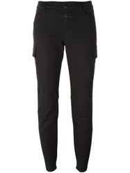 Closed Flap Pocket Skinny Trousers Black