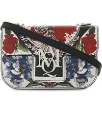 Alexander Mcqueen Amq Insignia Floral Print Leather Satchel Black Multi
