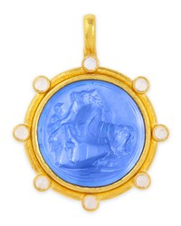 Ancient Horse Antique 19K Gold Intaglio Pendant Cerulean Elizabeth Locke Gold Blue