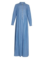 The Great The Shirt Gown Denim Maxi Dress