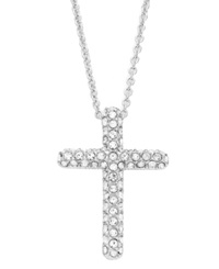 Eliot Danori Necklace Silver Tone Pave Crystal Cross Pendant