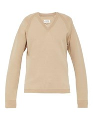 Maison Margiela V Neck Sweater Beige