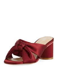 Neiman Marcus Michelle Satin Knotted Mule Burgundy