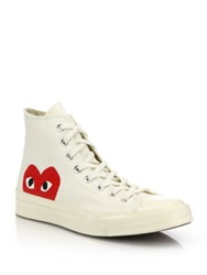 Comme Des Garcons Peek A Boo Canvas Sneakers White Black