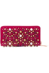 Christian Louboutin Panettone Embellished Patent Leather Continental Wallet Bright Pink