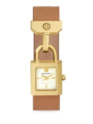 Tory Burch Surrey Leather Strap Watch Yellow Gold