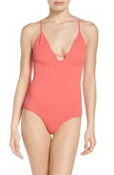 Free People Women's 'Move Along' Racerback Bodysuit Bright Red