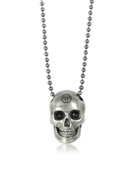Philipp Plein Silver Tone Metal Skull Necklace W Black Crystals