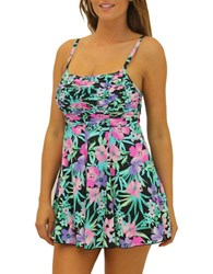 Fit 4 U Figure Magic Tropical Print Shirred Cami Top Swimdress Multi Colored