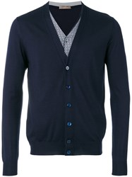Cruciani V Neck Cardigan Men Silk Cashmere 50 Blue