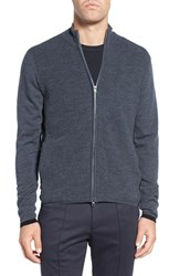Zachary Prell Men's Zip Front Merino Cardigan Charcoal