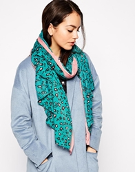 Yumi Floral Leopard Scarf Teal