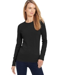 Jm Collection Petite Crew Neck Button Sleeve Sweater Only At Macy's Deep Black