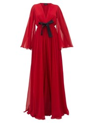 Giambattista Valli Ruffled Lace Trimmed Georgette Gown Red