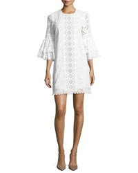 Andrew Gn Ruffle Sleeve Lace Shift Dress Black