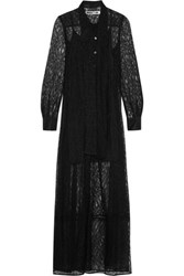 Mcq By Alexander Mcqueen Pussy Bow Lace Maxi Dress Black