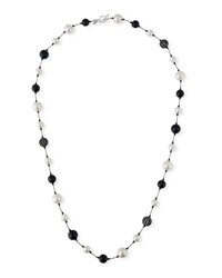 Margo Morrison Pearl Onyx And Crystal Ball Necklace 35 L