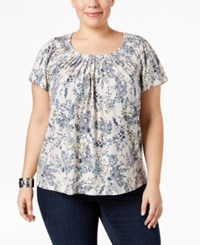 Style And Co Plus Size Floral Print Pleated Neck Top Only At Macy's Venice Vine