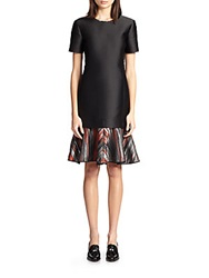 Ostwald Helgason Printed Hem Satin Dress Black