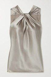 Theory Twist Front Silk Blend Satin Top Silver