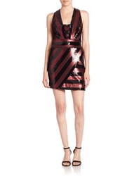 Milly Sequin Striped Dress Red