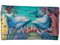 Anuschka 1042 Dolphin World Wallet Handbags Blue