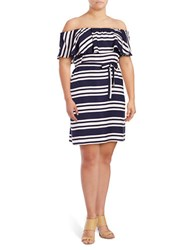 Lord And Taylor Plus Rhodes Stripe Off The Shoulder Dress Evening Blue
