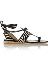 Paul Andrew Persica Zebra Print Calf Hair And Leather Sandals