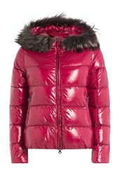 Duvetica Quilted Down Jacket With Fur Trimmed Hood Pink