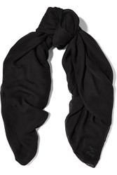 M Missoni Frayed Modal And Cashmere Blend Scarf Black