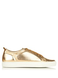 Lanvin Metallic Leather Low Top Trainers Gold