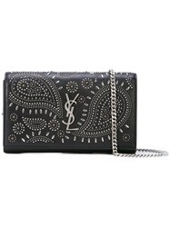 Saint Laurent Monogram Logo Embellished Clutch Bag Black