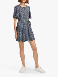 French Connection Eden Crepe Playsuit Utility Blue Waterfall