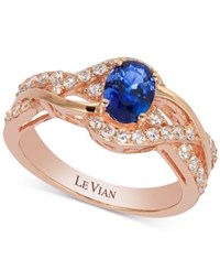 Le Vian Sapphire 7 8 Ct. T.W. And Diamond 3 8 Ct. T.W. Twisted Shank Ring In 14K Rose Gold Blue