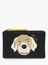 Radley And Friends Leather Small Zip Top Coin Purse Black Honey