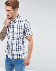 Fred Perry Slim Fit Short Sleeve Check Shirt Blue Service Blue White