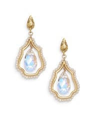 Azaara 2Mm White Round Freshwater Pearl And Crystal Geo Drop Earrings Goldtone Gold Multi