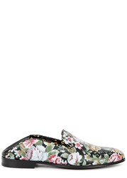 Alexander Mcqueen Floral Print Leather Loafers Multicoloured