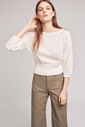 Anthropologie Cropped Balloon Sleeve Pullover Ivory